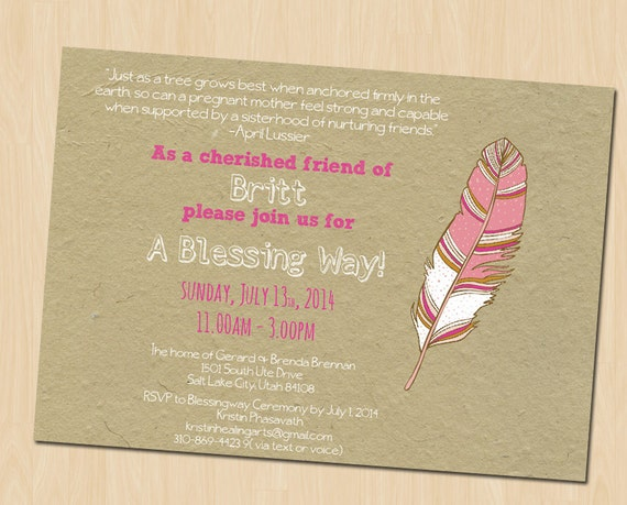 Baby Blessing Invitation Blessing Way Invitation Custom