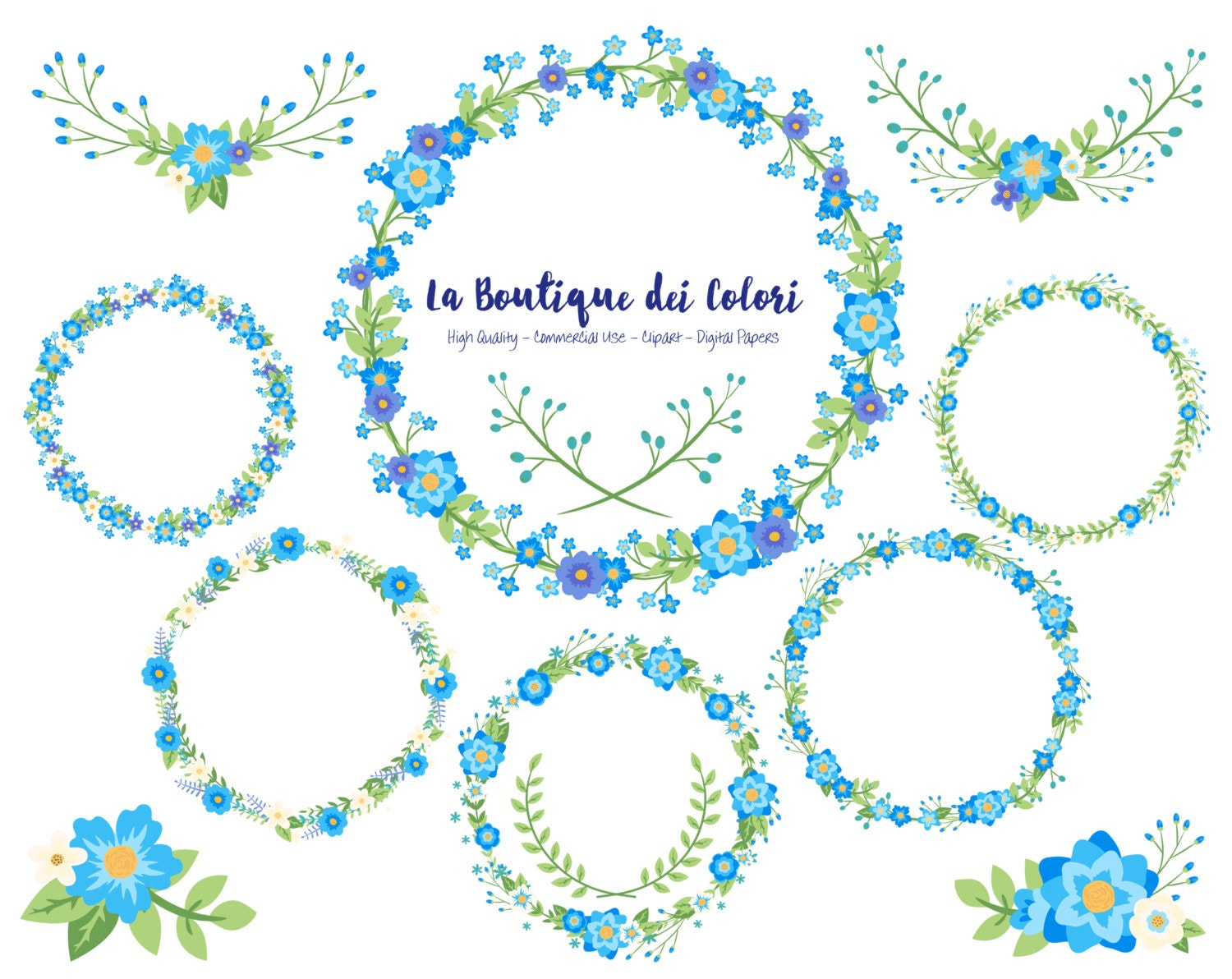 Blue flower wreath clipart cute graphics png laurel wedding zoom izmirmasajfo Gallery