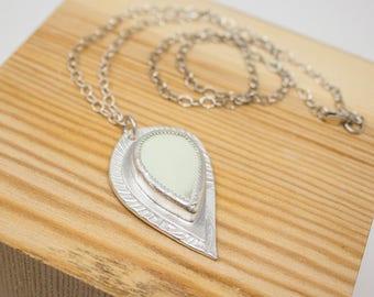 Lemon Chrysoprase Fine Silver Necklace - GD302