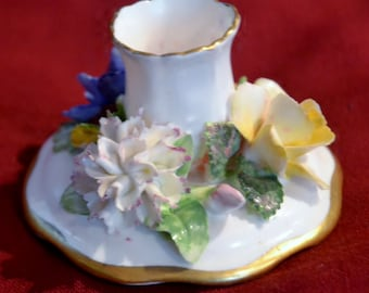 Vintage Candle Holder, STAFFORDSHIRE, ENGLAND. Fine BONE China. Surrounded by lovely Porcelain Flowers, and trimmed in gold.