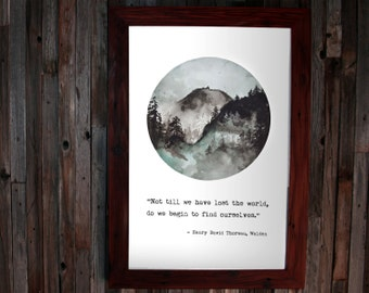 Literary Quote Poster - Walden, Watercolor