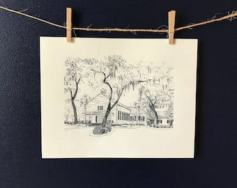 Isle of Hope Methodist Church Savannah Pen and Ink Black and White Print