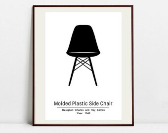 Molded Plastic Chair Poster - Black and White Art Print - Digital Download Art Print