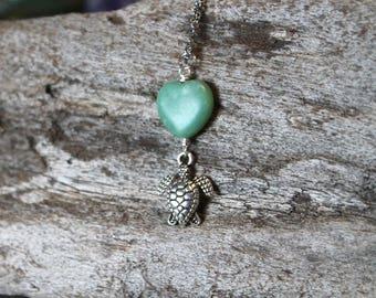 Sea Turtle Jewelry from Hawaii - Chrysoprase Necklace - Hawaiian Jewelry Hawaiian Honu Necklace - Summer Boho Jewelry - Sea Turtle Necklace