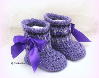New Born Shoes, Baby Booties, Purple, Lilac, Violet,Crochet Booties, Baby Shoes,Baby Shower Gift, Gift for Baby, Christening,Crochet