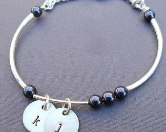 Initial Pearls Bracelet - Birthstone Pearls Bangle Bracelet - Personalized Initial and Name Bracelet- Custom Bracelet with Pearls -B-12