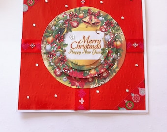 """""""Merry christmas Happy New Year"""", round 3D card"""