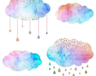 Watercolor glitter cloud,Digital Clipart - Instant Download - PNG files included