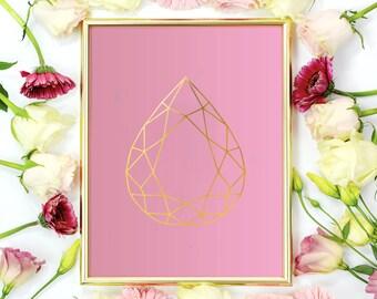 Gem Print, Wall Decor, Crystal Print, Crystal Poster, Geometric Print, Minimal Art, Modern Art, Pastel Colors.