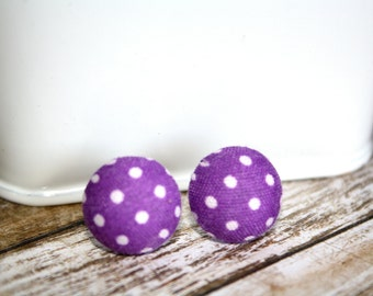 Purple with White Dots Fabric Button Earrings, Stud Earrings, Silver Ear Posts,