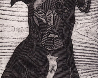 Black Labrador Retriever Mix, original black and white collograph print, dog art - Bruno 7