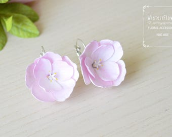 Cherry blossom Earrings Flower jewelry Sakura Pink Flower earrings Bridal jewelry Blossom jewelry Pink earrings for girls Spring wedding