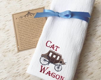 Cat Wagon Western Towel - Old West Flour Sack Towel - Vintage Wooden Wagon - Country Kitchen Dish Cloth - Novelty Housewarming Gift