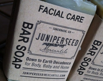 Half Bar Facial Care - All Natural Vegan Cold Process Bar Soap For Men and Women with Tea Tree and Peppermint