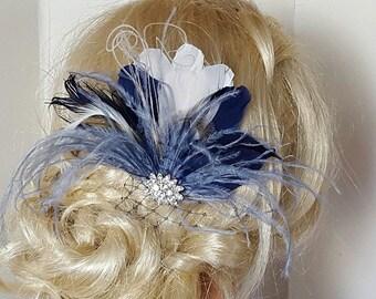 Navy Blue Hair Fascinator, Navy blue, Wedding Hair Clip, Bridal Hair Clip, Feather Fascinator,  Wedding hair comb, Something Blue, Navy Blue