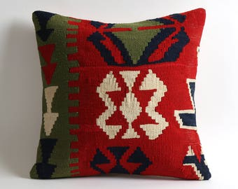 Decorative Red Kilim Pillow Cover 16x16 Bohemian Home Decor Handwoven Pillow Kilim Cushion
