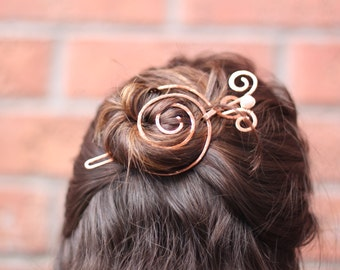 Spiral bun cage with white pearl swirly stick in copper - Hair slide - Hair accessories - Hair barrette - Hair pin - HP018