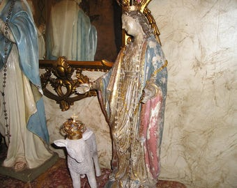 "Elaborate EXLG. 26"" Virgin Mary/Madonna Religious Devotional Detailed,Painted Crownned Plaster Statue w/Rosary/large Lamb.Fab."