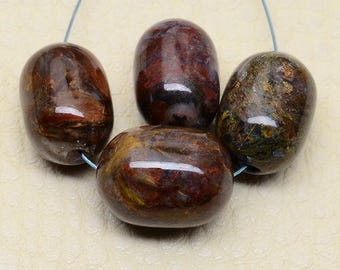 Four 14.5mm by 10mm Pietersite Barrel Shaped Beads (Minor Natural Imperfections)