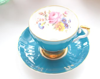 Vintage English Royal Grafton Fine Bone China Footed Tea Cup and Saucer Elegant Tea Party - c. 1957 - 1960