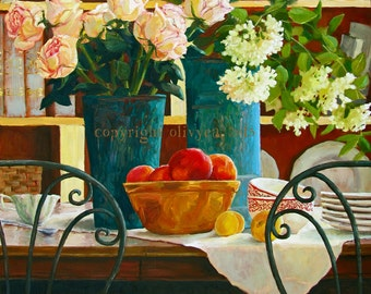 Oil Painting, Flowers and Fruit Still Life,Original,Vase of Flowers, Roses, Photo Realism, Original, Large, 24 x 24""