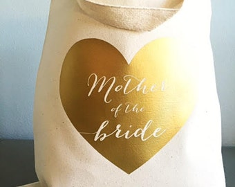 Mother of the bride gift - Gold heart - Mother of the bride - Natural tote