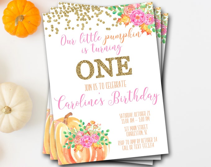 Pumpkin Birthday Invitation, Pumpkin First Birthday Invitation, Fall Birthday Invitation, Pumpkin Invite, Floral Pumpkin Invitation