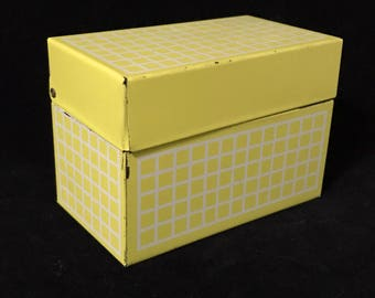 Vintage Recipe Box Mid Century Yellow And White Metal Recipe Box Standard Index Card Size With Index Cards Vintage Kitchen Recipe Storage