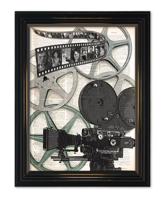 Vintage Movie Camera dictionary art print. Great home theatre