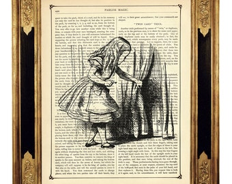 Alice in Wonderland Dictionary Art Print Door Curtain b&w Poster - Vintage Victorian Book Page Art Print Steampunk