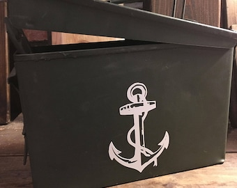 Ammo Tin - Ammo Can - Hunting Gift - Groomsman Gift - Military Ammunition Box - Anchor Ammo Box - Custom Ammo Can - Ammo Storage Box