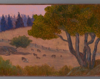Hereford cattle graze in a valley on Lopez Island Original Oil Painting on reflective Copper Leaf Birch Branch Twig Stand OOAK metallic art