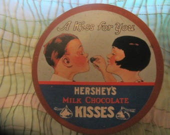 HERSEY'S KISSES COASTER Set 4 Hong Kong 1983 Metal Cork