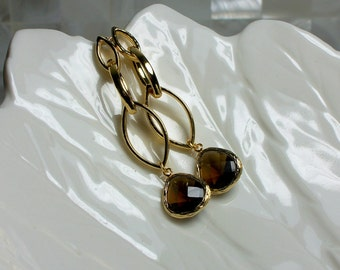 Smoky Quartz CZ Polished Gold plated Jewelry Post Stud Earrings Modern Jewelry Earrings Slender Long Earrings Fashion Jewellery
