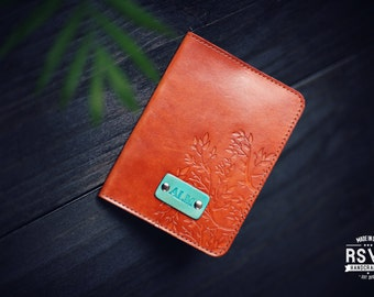 SALE 50% Personalized Leather Passport Cover, Leather, holder, wanderlust, travel, Branches Passport Cover, tree, handmade,  name initials