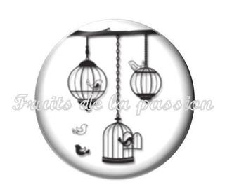 Set of 2 cabochon 16mm round glass, animal, bird cage