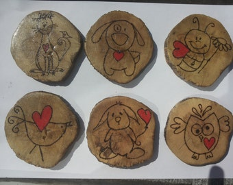 Burned wood coaster set