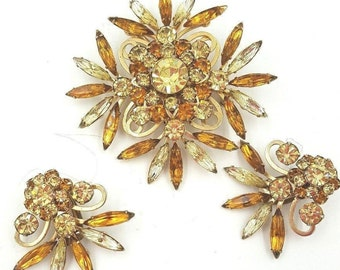 "VTG Judy Lee ""Miss Joyce""  Brooch Earring Demi Parure Gold Tone Prong Set Crystals Navettes"
