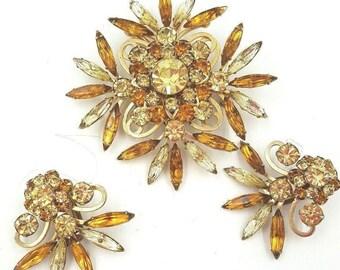 "VTG 1950's Judy Lee Brooch Earring Demi Parure ""Miss Joyce"" Gold Tone Prong Set Crystals Navettes"