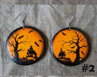 Gothic earrings Earrings Halloween Earrings Halloween jewelry.  Halloween party decor.Halloween costume Halloween bats.  Wood Jewelry. Gift