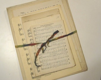 Antique Music Bundle - 50 song book, sheet music and hymnal pages - vintage music pages - songbook pages - church hymnbook pages