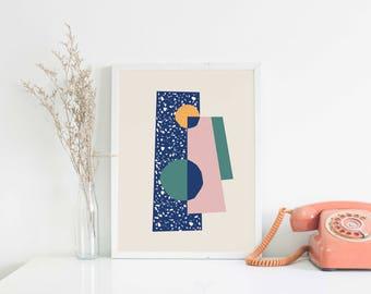 A4 Art Print • Illustration • Wall Art • Home Decor • Art Print • Mid Century Modern • Collage • Terrazzo • DORADO 01