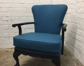Blue Quilted Statement Armchair