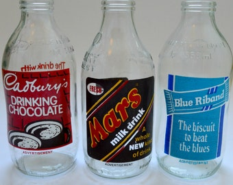 Set of 3 Vintage 1980's Milk Bottles Advertising Mars, Blue Riband and Cadbury's Chocolate