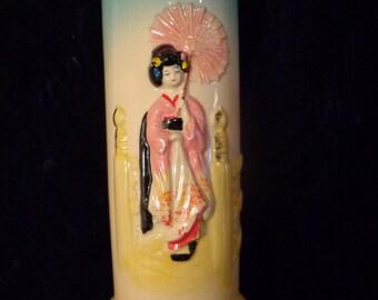"""Geisha Girl Art, Raised Geisha """"Ah So"""" Vase, Geisha Art, Porcelain Japanese 1960s Geisha Vase, Asian Home Decor, Raised Pagoda Vase"""