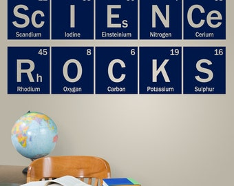 Science Rocks periodic vinyl decal, science wall decal, classroom teacher decor, chemistry dorm decal, table of elements