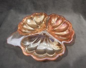 Carnival glass Three Section Dish Marigold Orange Iridecent Lusterware