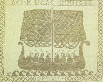 """Woven Linen/Cotton Fabric """"Vikings"""" about 45x70 cm tea towel"""