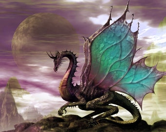Blue Majestic Dragon Cross Stitch Pattern