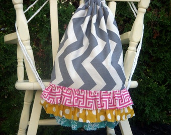 Children's Size Grey Chevron Drawstring Backpack